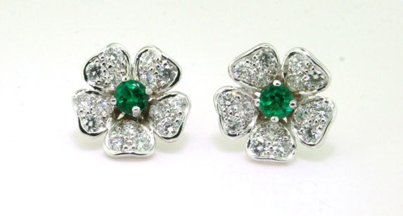 Flower Emerald and Diamond Earrings