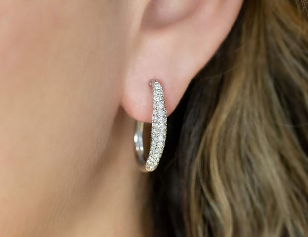 Diamond Oval Hoop Earrings in White Gold