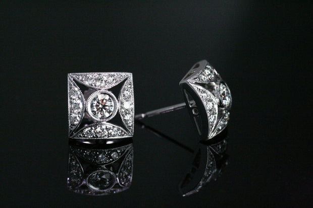 Square Art Deco Diamond Earrings | White Gold