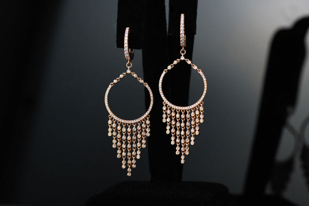 Chandelier Diamond Bezel Earrings