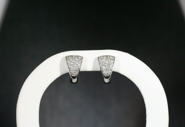 Triangle Pave Diamond Huggie Earrings | 18k White Gold
