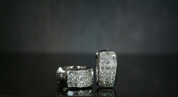 Invisible Set Princess Diamond Huggie Earrings | 18K White Gold