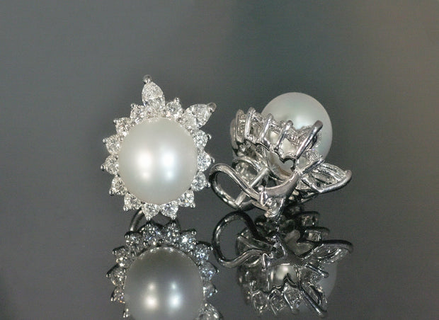 South Sea Pearl and Diamond Earrings | Platinum