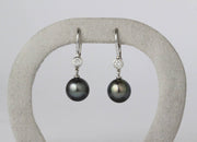 Black South Sea Pearl and Diamond Drop Earrings | 18K White Gold