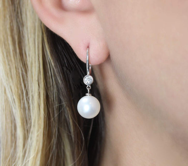 Cultured Pearl and Diamond Drop Earrings | 18K White Gold