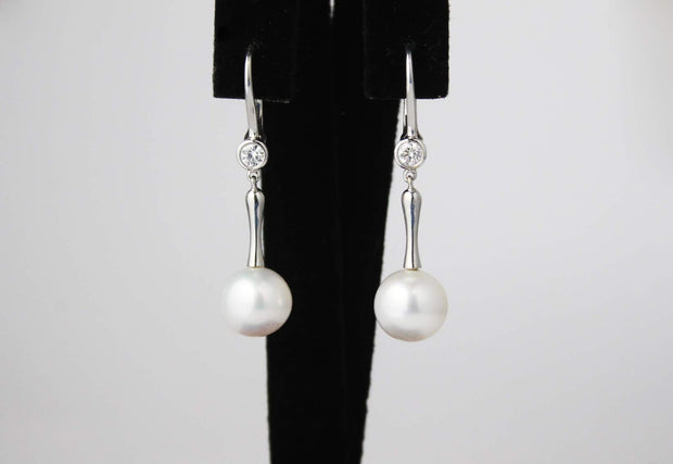 Pearl and Diamond Drop Earrings | 18K White Gold