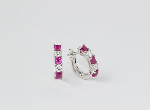 Ruby and Diamond Huggie Earrings | 18K White Gold