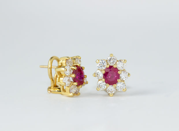 Ruby and Halo Diamond Earrings | 18K Yellow Gold