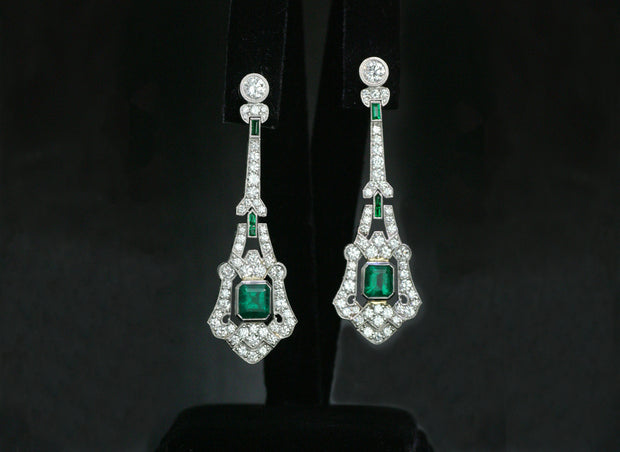 Art Deco Inspired Emerald and Diamond Drop Earrings | Platinum