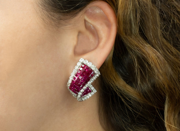 Invisible Set Diamond and Ruby Earrings | White Gold