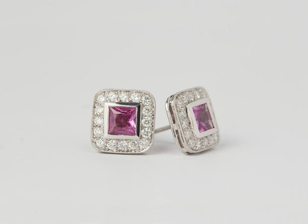 Pink Sapphire Princess Cut and Diamond Earrings | 18K White Gold