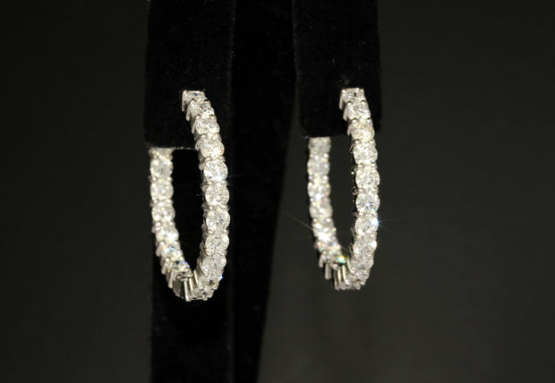 Diamond Hoop Earrings | 4.85 CTS 18K White Gold