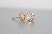 Halo Diamond Stud Earrings | 18K Rose Gold