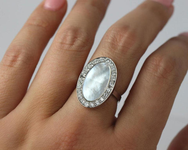 Oval Shaped Mother of Pearl and Diamond Ring |  14K White Gold