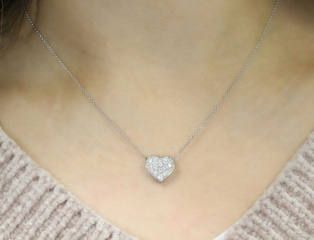 Large Puffed Diamond Heart Pendant