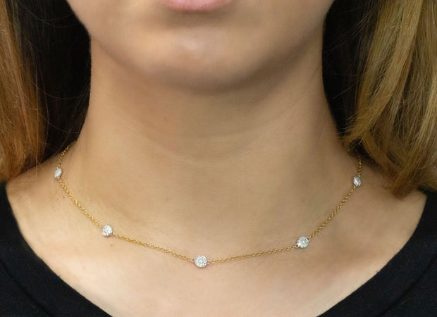 Two Tone Diamond Necklace with Diamond Pave Disks