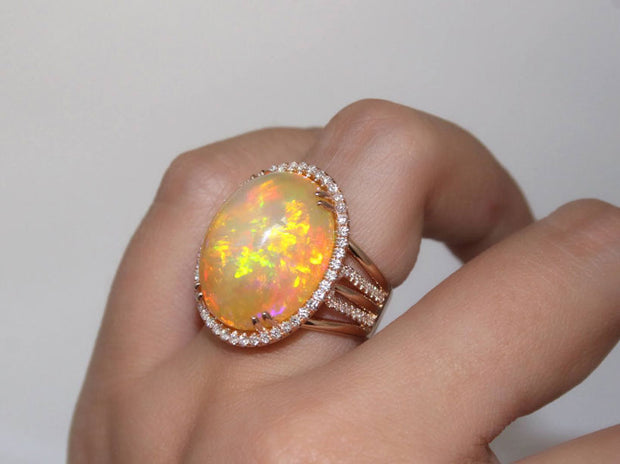 Opal and Halo Diamonds in Rose Gold Ring