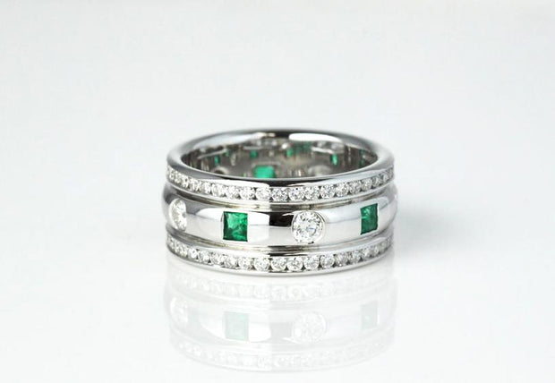Emerald and Diamond Band | 18K White Gold