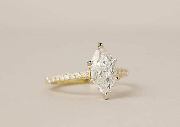 Marquis Diamond Engagement Ring | Yellow Gold Single Row Shared Prong Diamond Shank
