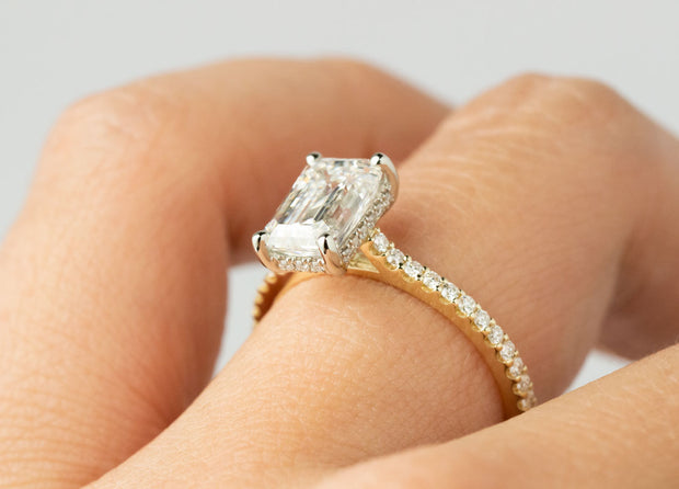 Emerald Hidden Halo Engagement Ring | Yellow Gold Shared Prong