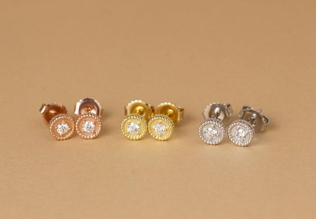 Bezel Diamond Studs | Rose, Yellow and White Gold