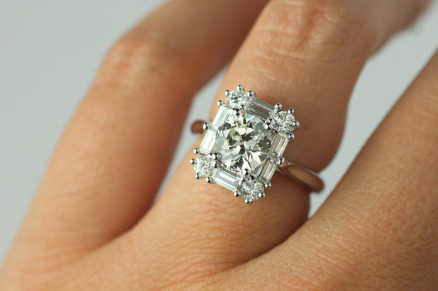 Baguette and Full Cut Diamond Ring