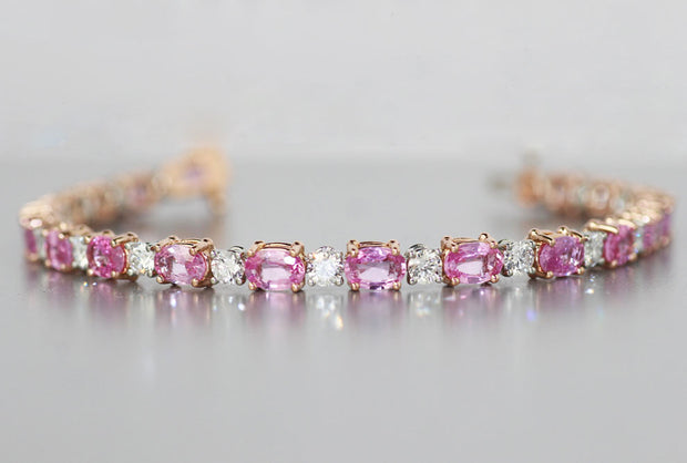 Oval Pink Sapphire and Diamond Line Bracelet | 18K Rose Gold