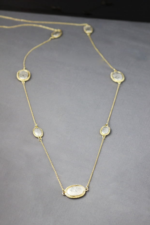Yellow Gold and Sterling Silver Rustic Ovals Necklace