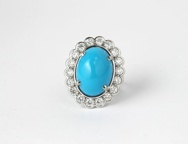 Cabochon Turquoise and Diamond Ring