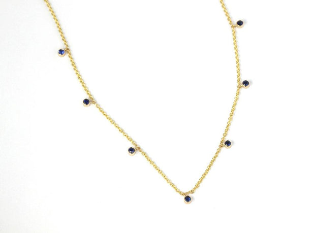Dangling Sapphires Necklace | 14K Yellow Gold