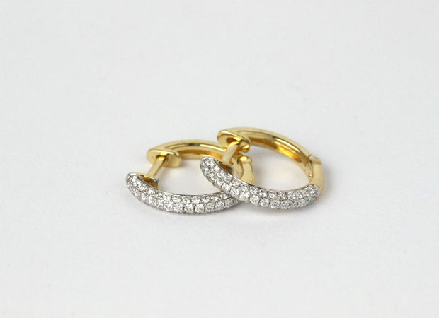Small Pave Diamond Huggie Earrings
