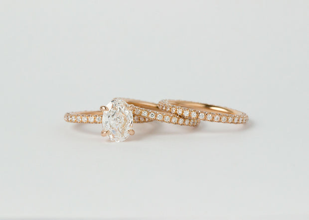 Oval Diamond with 3 Row pave Diamond Band