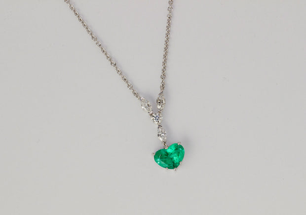 Emerald Heart and Marquis Diamond Necklace