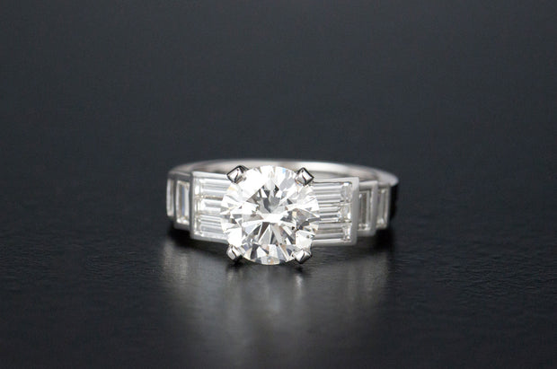 Brilliant And Baguette Diamond Ring