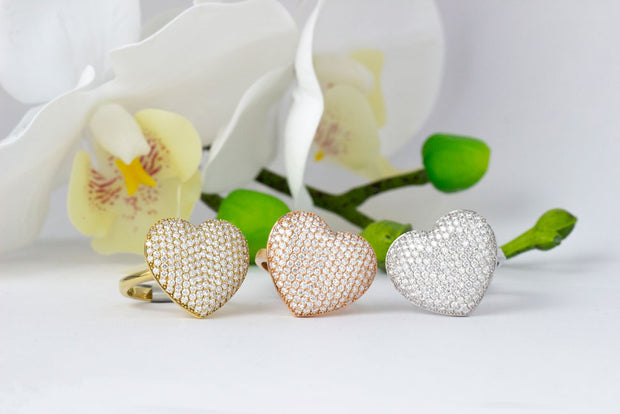 Diamond Pave Heart Rings