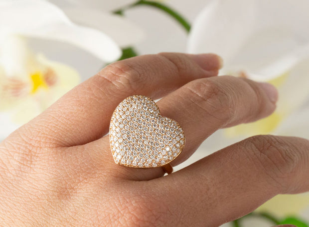 Heart Pave Diamond Rings | 18K Rose Gold