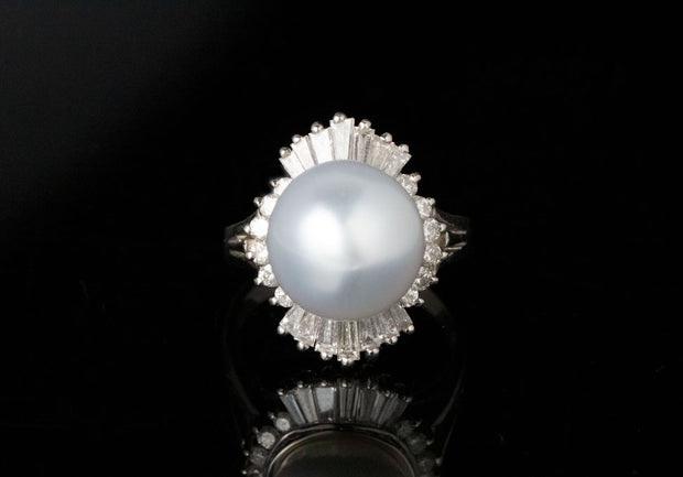 Pearl and Baguette Diamond Ring