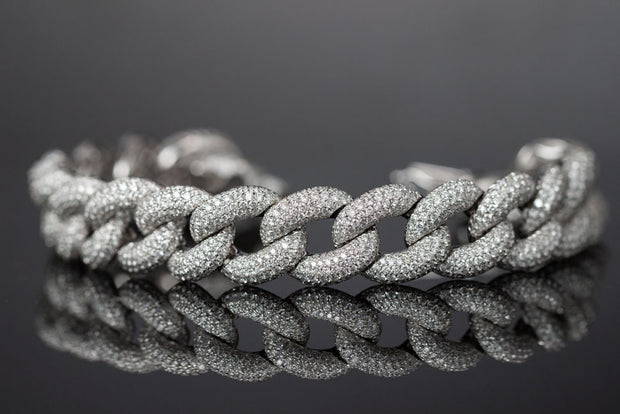 Diamond Pave Curb Link Bracelet in White Gold