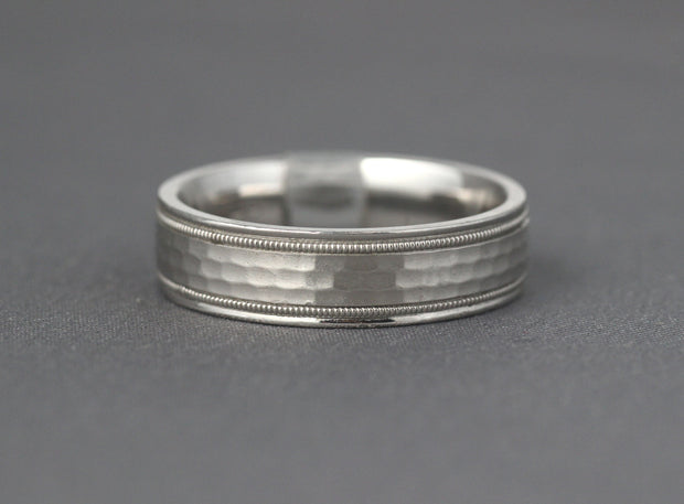 Hammered Wedding Band with Micro beading Edges