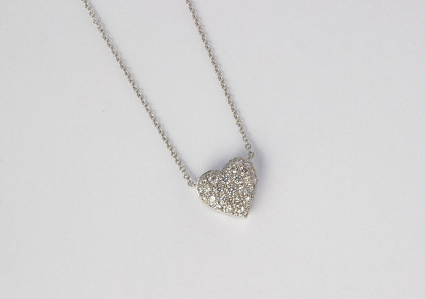 Medium Puffed Diamond Heart Pendant