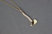 Diamond and Yellow Gold Hatchet Pendant | 14K Yellow Gold