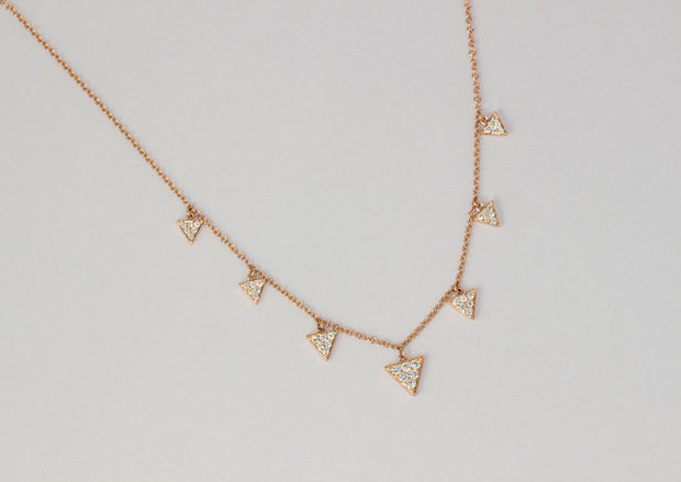 Diamond Triangles Necklace | 18K Rose Gold