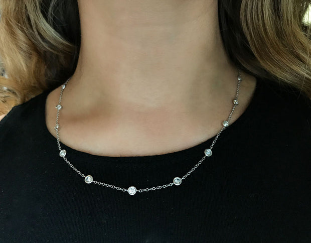 Diamonds On A String White Gold 18''
