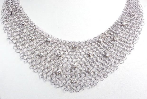 Mesh Chain and Diamond Necklace | 18K White Gold