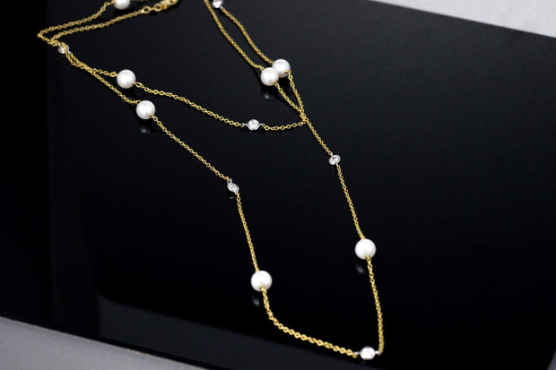 Long Pearl and Diamond Necklace | 18K Yellow Gold