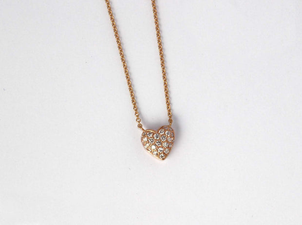 Small Puffed Diamond Heart Pendant | 18K Rose Gold