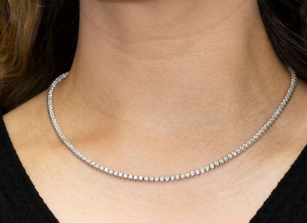 Four Prong Diamond Tennis Necklace | 14K White Gold