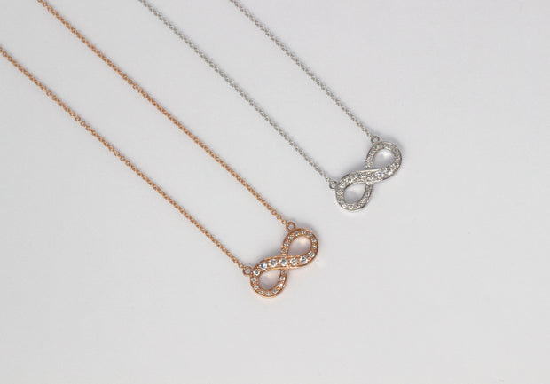 Infinity Diamond Pendant Necklace | 18K Rose Gold
