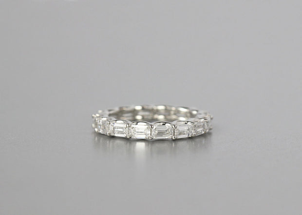 Emerald Cut Horizontal Set Eternity Band