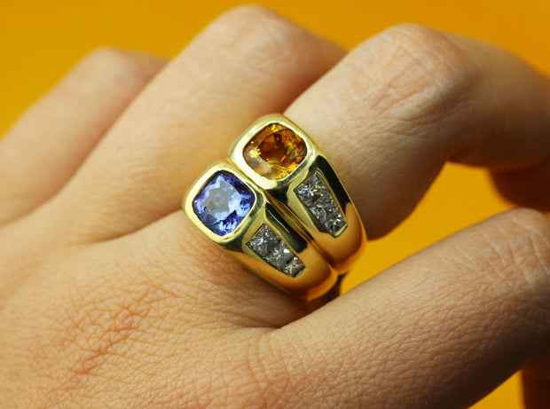 Cushion Topaz and Connected Twin Tanzanite Ring